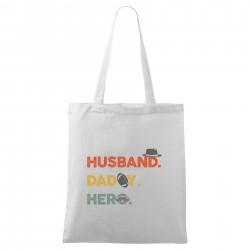 Biela taška Husband. Daddy. Hero.