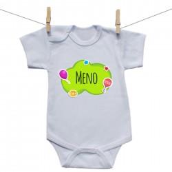 Body s krátkym rukávom Zelená bublina s menom dieťatka
