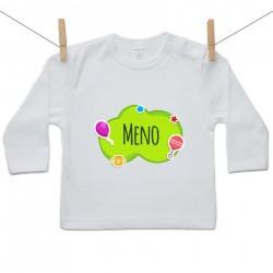 Tričko s dlhým rukávom Zelená bublina s menom dieťatka