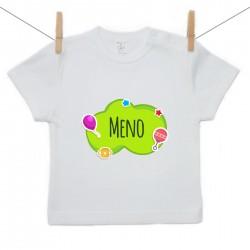 Tričko s krátkym rukávom Zelená bublina s menom dieťatka