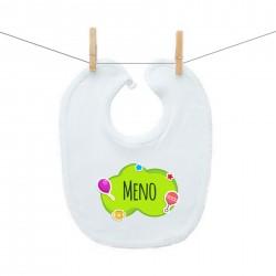 Podbradník na zapínanie Zelená bublina s menom dieťatka