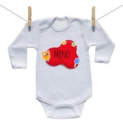 Body s dlhým rukávom Červená bublina s menom dieťatka