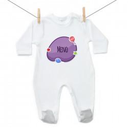 Overal Fialová bublina s menom dieťatka