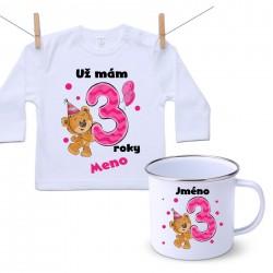 Sada Mám 3 roky s Medvedíkom a menom dieťatka Dievča