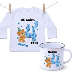 Sada Mám 4 roky s Medvedíkom a menom dieťatka Chlapec