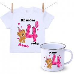 Sada Mám 4 roky s Medvedíkom a menom dieťatka Dievča