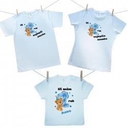 Rodinná sada (tričko s krátkym rukávom) Už 1 rok najlepší rodičia chlapčeka s menom dieťatka
