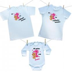 Rodinná sada (body s krátkym rukávom) Už 1 rok najlepší rodičia dievčatka s menom dieťatka