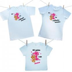 Rodinná sada (tričko s krátkym rukávom) Už 1 rok najlepší rodičia dievčatka s menom dieťatka