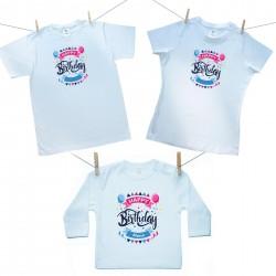 Rodinná sada (tričko s dlhým rukávom) Happy birthday s menom dieťatka