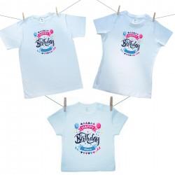 Rodinná sada (tričko s krátkym rukávom) Happy birthday s menom dieťatka