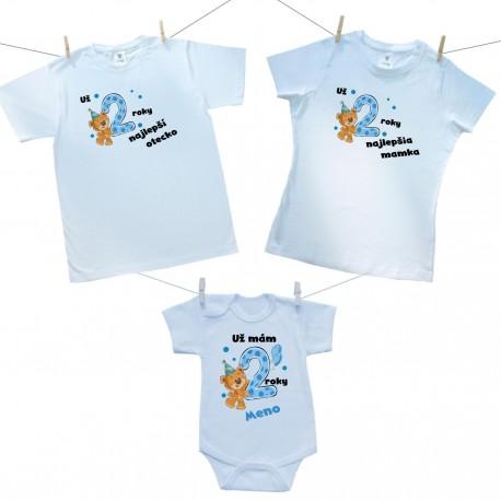 Rodinná sada (body s krátkym rukávom) Už 2 roky najlepší rodičia chlapčeka s menom dieťaťa