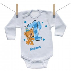 Body s dlhým rukávom 1 rok s Medvedíkom a menom dieťatka Chlapec