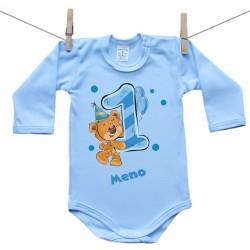 Modré body s dlhým rukávom 1 rok s Medvedíkom a menom dieťatka Chlapec