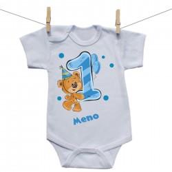 Body s krátkym rukávom 1 rok s Medvedíkom a menom dieťatka Chlapec