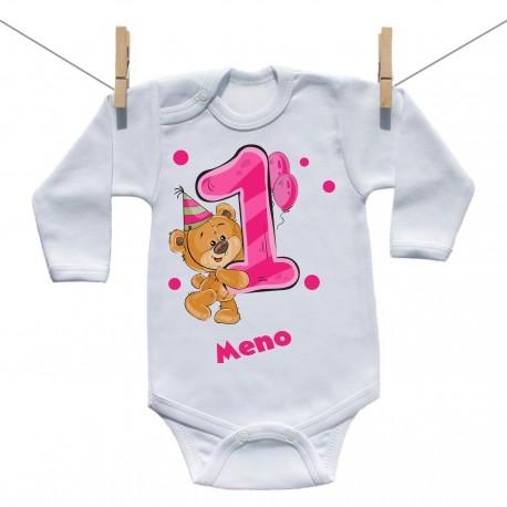 Body s dlhým rukávom 1 rok s Medvedíkom a menom dieťatka Dievča
