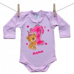 Ružové Body s dlhým rukávom 1 rok s Medvedíkom a menom dieťatka Dievča