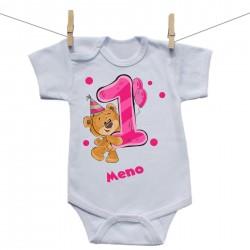 Body s krátkym rukávom 1 rok s Medvedíkom a menom dieťatka Dievča