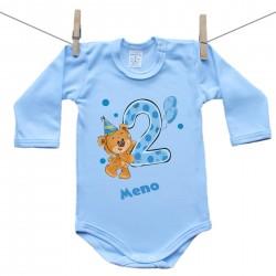 Modré body s dlhým rukávom 2 roky s Medvedíkom a menom dieťatka Chlapec