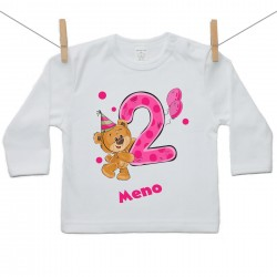 Tričko s dlhým rukávom 2 roky s Medvedíkom a menom dieťatka Dievča