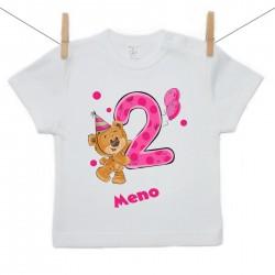 Tričko s krátkym rukávom 2 roky s Medvedíkom a menom dieťatka Dievča