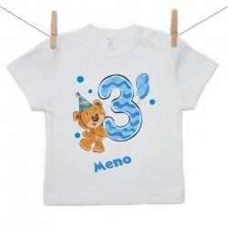 Tričko s krátkym rukávom 3 roky s Medvedíkom a menom dieťatka Chlapec