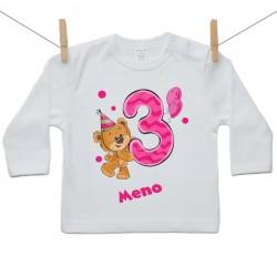 Tričko s dlhým rukávom 3 roky s Medvedíkom a menom dieťatka Dievča