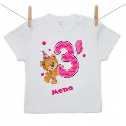 Tričko s krátkym rukávom 3 roky s Medvedíkom a menom dieťatka Dievča
