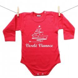 Červené body s dlhým rukávom Veselé Vianoce so stromčekom