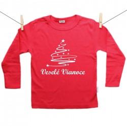 Červené tričko s dlhým rukávom Veselé Vianoce so stromčekom