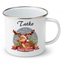 Smaltovaný hrnček Veselé Vianoce so sobíkom Tatko