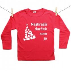 Červené tričko s dlhým rukávom Najkrajší darček som ja