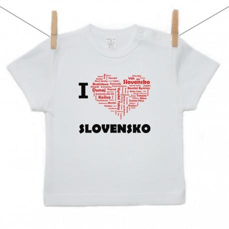 Tričko s krátkym rukávom I love Slovensko