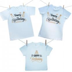 Rodinná sada (tričko s krátkym rukávom) Happy birthday
