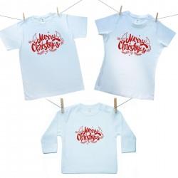 Rodinná sada (tričko s dlhým rukávom) Merry Christmas