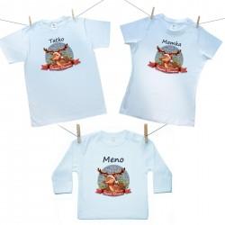Rodinná sada (tričko s dlhým rukávom) Veselé Vianoce so sobíkom a menom dieťatka