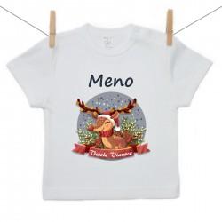 Tričko s krátkym rukávom Veselé Vianoce so sobíkom a menom dieťatka