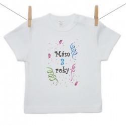 Tričko s krátkym rukávom Mám 3 roky Chlapec