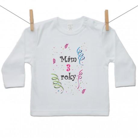 Tričko s dlhým rukávom Mám 3 roky Dievča