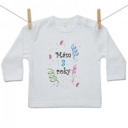 Tričko s dlhým rukávom Mám 3 roky Chlapec