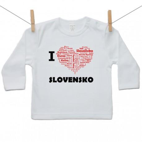 Tričko s dlhým rukávom I love Slovensko