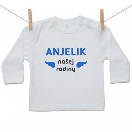 Tričko s dlhým rukávom Anjelik našej rodiny