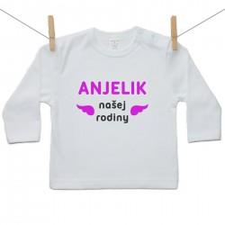 Tričko s dlhým rukávom Anjelik našej rodiny Ružová