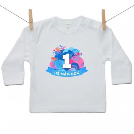 Tričko s dlhým rukávom Už mám 1 rok Modrá