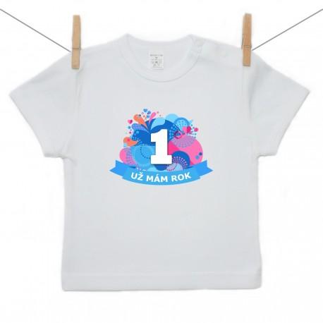 Tričko s krátkym rukávom Už mám 1 rok Modrá