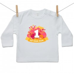 Tričko s dlhým rukávom Už mám 1 rok Oranžová