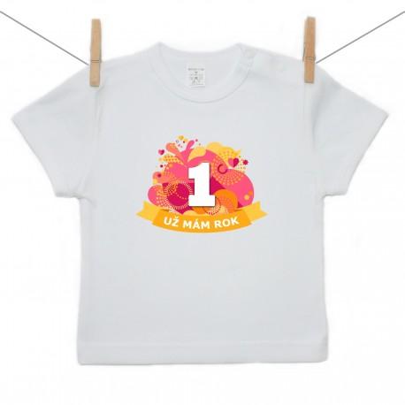 Tričko s krátkym rukávom Už mám 1 rok Oranžová