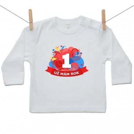 Tričko s dlhým rukávom Už mám 1 rok Červená