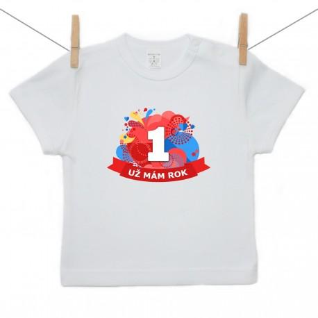 Tričko s krátkym rukávom Už mám 1 rok Červená