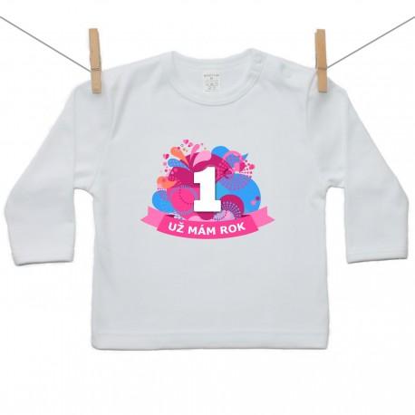Tričko s dlhým rukávom Už mám 1 rok Rúžová